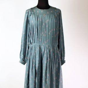 Vintage Emanuel Ungaro blue silk pleated dress M